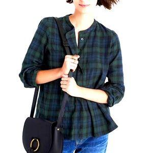 Madewell market popover shirt in dark plaid size medium